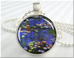 Image result for monet art etsy hand painted stone pendants