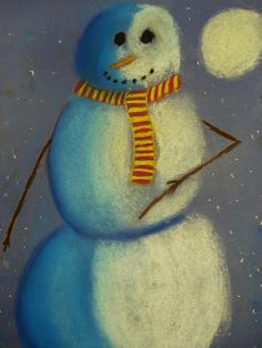 Snowmen at Night Chalk Pastel Drawings  One day prompt - sub plan