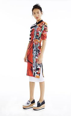 Monk Cloth Front Cutout Dress & White Pleated Skirt - Women's Spring 2015 Collection by Clover Canyon