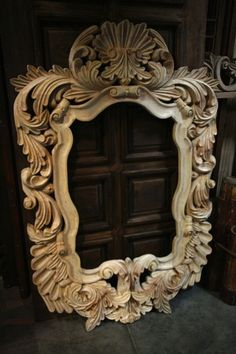 """This is a magnificent mirror with very deep carving,This piece definitely will have a 1 1/2"""" beveled mirror. Pinned from Demejico Inc.."""