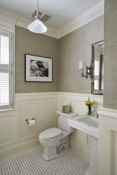 Traditional Spaces Beadboard Powder Room Design, Pictures, Remodel, Decor and Ideas - page 2 Bad Inspiration, Bathroom Inspiration, Home Design, Design Ideas, Interior Design, Wall Design, Interior Modern, Sink Design, Design Styles