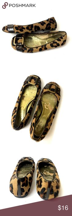 BODEN | calf-hair leopard print flats Boden quality and pizzaz!!  Calf-hair leopard-print skimmer flats with patent leather detailing and brass hardware.  Good pre-owned condition with wear inside the shoes and on the soles, as pictured. These retail brand new at $138 Boden Shoes Flats & Loafers