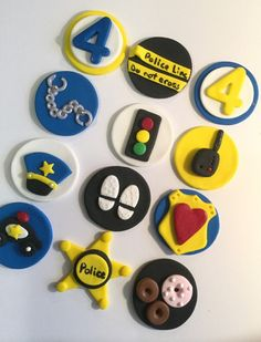 Police Fondant Cupcake, Cake or Cookies Toppers. Set includes 12 (one dozen) by prettypartydetails. Explore more products on http://prettypartydetails.etsy.com