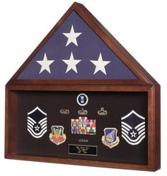 Urns Northwest  - Military Burial Flag Case & Memorabilia Display. Made in USA. Real walnut wood. Wall mountable. A beautiful tribute to a fallen soldier.