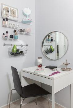 Closeup of MICKE vanity.   Closet redesign by Jerrica Zaric Interior Design