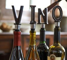 Alphabet Bottle Stoppers. What a great gift for the hostess too.