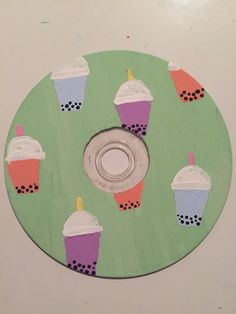 Cd Wall Art, Cd Art, Bubble Tea, Art Ideas For Teens, Cute Doodle Art, Record Art, Indie Art, Writing Art, Mini Canvas Art