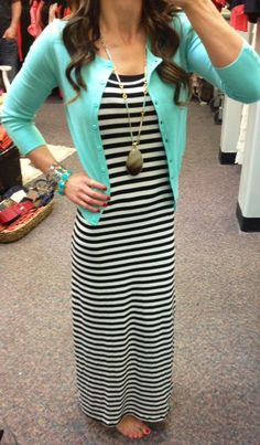 Stripes and mint! Perfect Spring combo.  www.sexymodest.com