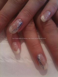 Chevron French with flick nail art