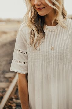 Subtle Embroidery White Spring Dress | ROOLEE
