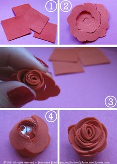 Dollar store craft foam and hot glue makes roses
