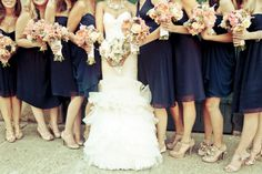 I'm liking the nude shoes for the bridesmaids. Then they can get more use out of them after the wedding.