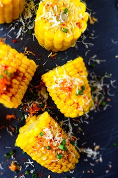 Perfect street food you can make at home! Ready just in 5 minutes! Cheese makes a big difference! | giverecipe.com | #corn #cornonthecob #boiledcorn #cornrecipe #cheesycorn #butteredcorn #vegetarian #easycornrecipe #glutenfree #snack