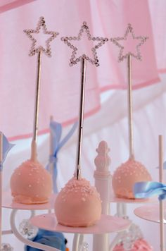 Star wand topped cake pops at a Cinderella Party #cinderella #cakepops