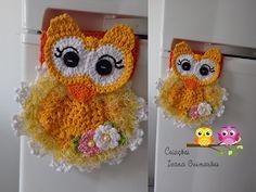 Crochet Owls, Crochet Potholders, Crochet Doilies, Crochet Baby, Knit Crochet, Crochet Flower Patterns, Crochet Flowers, Owl Crafts, Diy And Crafts