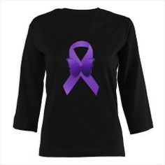 Purple Awareness Ribbon 3/4 Sleeve T-shirt (Dark)> Purple Awareness Ribbon> Alondra's Creations $28.19 #fibro #lupus