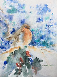 Aquarell, Rotkelchen, Vögel, winter, Ilex, animal, bird, Robin, nature, veredit, Isabella Kramer,
