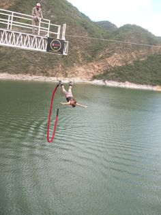 Bungee jumping at Cabra Corral dam, Salta, Argentina.