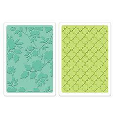 *Sizzix ROSE VINES & TRELLIS Embossing Folders Textured Impressions 658356