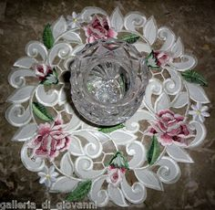 "Royal Rose Lace Doily Flower Floral 11"" Round Roses 