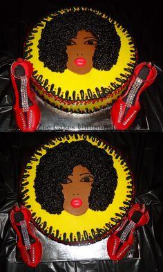 70s themed cake Afro Girl