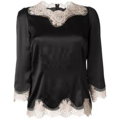 Dolce & Gabbana lace trim blouse (4.040 RON) ❤ liked on Polyvore featuring tops, blouses, black, dolce gabbana blouse, black 3/4 sleeve top, 3/4 sleeve blouse, 3/4 sleeve tops and black lace blouse