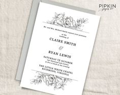 Printable Wedding Invitations and Stationery by PipkinPaperCompany