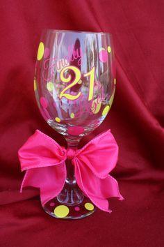 21st Birthday Wine Glass. 21st Birthday Gift. by TheVinylChick, $12.00