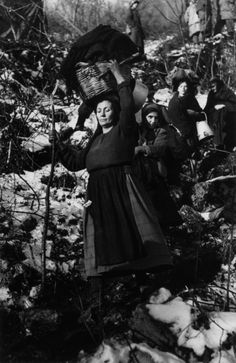 Near Cassino, Italy January 1944 - Civilians fleeing fighting in the mountains. Photo by Robert Capa. Vintage Photographs, Vintage Photos, Foto Vintage, Budapest, Italian Campaign, Vietnam, War Photography, White Photography, Photographer Portfolio