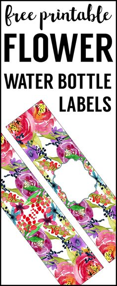 Flower Water Bottle wrappers for a floral baby shower, birthday party, or bridal shower, or wedding. Printable Water Bottle Labels, Printable Labels, Printable Paper, Labels Free, Free Baby Shower Printables, Free Printables, Party Printables, Spring Water Bottle, Water Bottles