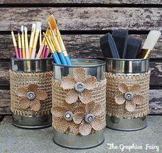 Recycled Crafts - Make Tin Can Organizers Recycled Crafts - Organizer für Blechdosen herstellen - The Graphics Fairy Tin Can Crafts, New Crafts, Crafts To Make, Easy Crafts, Recycled Tin Cans, Recycled Crafts, Recycled Materials, Recycle Cans, Recycling