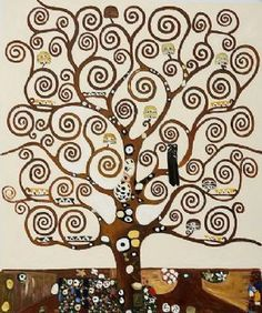 Hand Painted Tree of Life III-Gustav Klimt oil painting-Floral Canvas Wall Pictures for Living Rooms