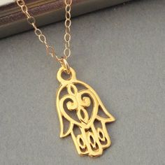 Gold Hamsa Necklace Hamsa Charm Necklace Gold by BeautifulAsYou