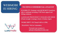 WebMobi is hiring Techno Commercial Analyst.  #keralajobs‬ Forward your resumes to jobs@webmobinetworks.com.