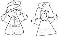fingerpuppets: police and nurse Paper Puppets, Sock Puppets, Hand Puppets, Diy For Kids, Crafts For Kids, Arts And Crafts, Paper Crafts, Finger Puppet Patterns, Kindergarten Social Studies