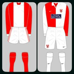 Kidderminster Harriers home kits for 1976-77 and 2008-10.
