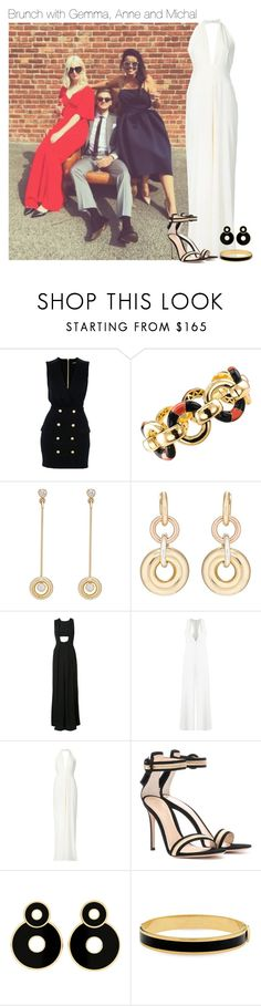 """""""Brunch with Gemma, Anne and Michal"""" by werehazza ❤ liked on Polyvore featuring Balmain, Retrouvai, SPINELLI KILCOLLIN, Misha Nonoo, ADRIANA DEGREAS, Chanel, Gianvito Rossi and Halcyon Days"""