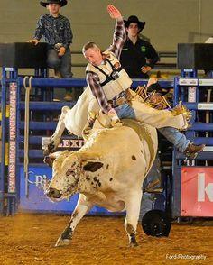 Lexington Champion Bull Rider Dave Samsel on FNF Bucking Bulls' Wish Slinger for an 81.5. Photo: Ford-Photography (no url)