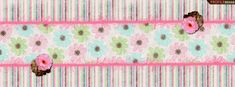 Pink & Brown Striped Facebook Cover - Pink Flowers Timeline Cover