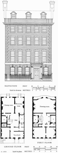 Green Street Area: Green Street, South Side Figure 46: No. 46 Green Street, elevation and plans | British History Online