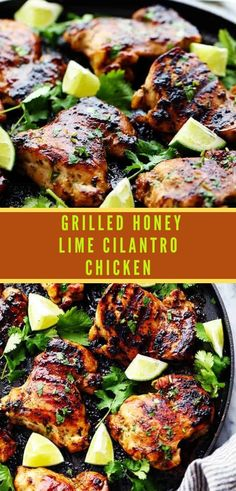 Perfectly grilled tender and juicy chicken marinated in a honey lime cilantro marinade. The flavor of this chicken is incredible! Grilled Chicken Thighs Boneless, Lime Chicken Thighs Recipe, Garlic Lime Chicken, Honey Soy Chicken, Soy Sauce Chicken, Chili Lime Chicken, Lime Chicken Recipes, Chicken Sandwich Recipes