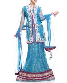 #Exclusivelyin, #IndianEthnicWear, #IndianWear, #Fashion, Pool Blue Lehenga Set