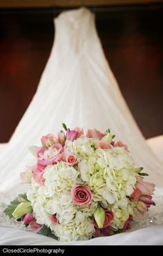 pretty bouquet.. white hydrangea, pink roses, lisianthus, freesia & tulips