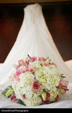 pretty bouquet.. white hydrangea, pink roses, lisianthus, freesia & tulips