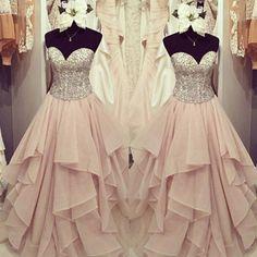 $169.99 Sweetheart Beading Tiers A-line Chiffon Prom Dresses 2017