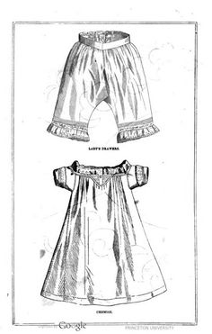 Lady's Drawers and Chemise. Peterson's Magazine, January 1861.   In the Swan's Shadow