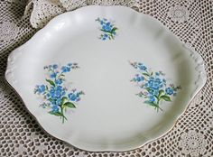Royal Albert Cake Plate or Tray. Bone China Hand Painted Tray with Forget Me Not Flowers. Made in England. by AnythingDiscovered on Etsy