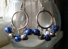 Blue Christmas Jingle Bell Earrings Tutorial