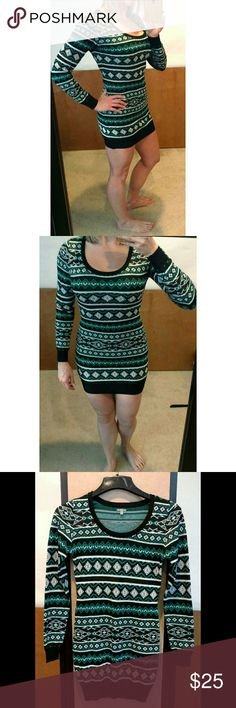 Green Black Aztec Sweater Body Con Dress Charlotte Russe -NWOT -Sweater Dress -Body Con -great for summer, or add leggings and boots for the winter -very flattering cut Charlotte Russe Dresses Mini