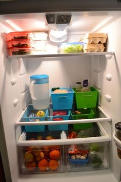 Organize your refrigerator with a few small bins